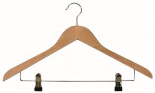 NATURE kpl 2 drewnianych wieszaków 44,5cm z klipsami do spodni lub spódnic